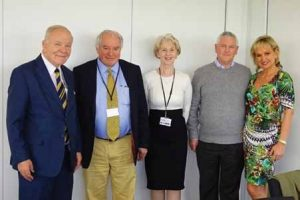 Outgoing Agropharm Ltd shareholders (left to right) Mr Bryan Shand, Sir Roger Jones and Susan Amass with acquiring shareholders (right to left) Mrs Paola Capel-Williams and Dr Gareth Capel-Williams, managing director, PelGar International