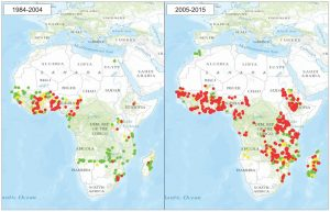 Pyrethroid resistance in Arican malaria vectors in Africa from 1984–2004 (left map) and 2005–2015 (right map). Red dots show resistant populations according to WHOs definition following exposure to a discriminating dose; yellow dots show possible resistance; green dots show susceptible populations. Reproduced from IR Mapper with permission of IR Mapper, March 2015.