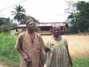Blind man with his wife